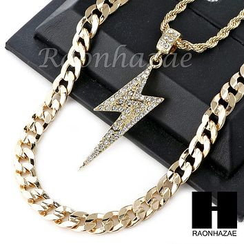 """ICED OUT 21 SAVAGE LIGHTING CHARM DIAMOND CUT 30"""" CUBAN CHAIN NECKLACE SET G21"""