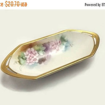 MZ Austria Oval Tray, Small Vintage Serving Dish, Pink Flowers with Gold Trim, Moritz Zdekauer, Cottage Chic Relish, Kitchen Display