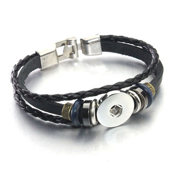 2016 PU leather18mm metal ginger snap button bracelet for women men's retro bracelet (fit 18mm 20mm snap) B137 black brown