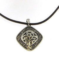 Antiqued Square Pendant with Leather Cord