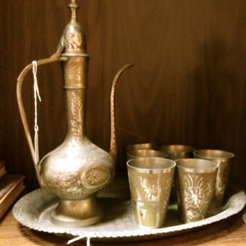 SALE!  Authentic Antique Bedouin / Middle Eastern Coffee Tea Decanter with 6 Cups & Tray Etched and Painted
