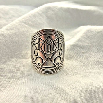 Silver ring, silver jewelry. Large ring with detail. Bohemian fashion accessories.