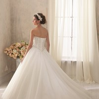 Beaded Strapless Sweetheart Tulle Gown by Blu by Mori Lee