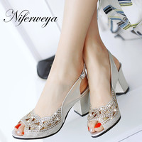 Big size 33-48 summer women pumps sexy Peep Toe Buckle Strap sandals Crystal decoration thick heel high heels zapatos mujer