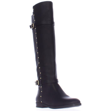 I35 Ameliee Side Studded Knee High Boots, Black, 6 US