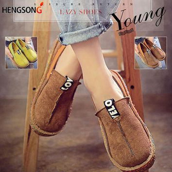 HENGSONG 2018 Sports Women Walking Shoes Round Toe Sport Pattern Lady Flats Wide Shallow Slip-on Shoes Oxford Shoes for Women