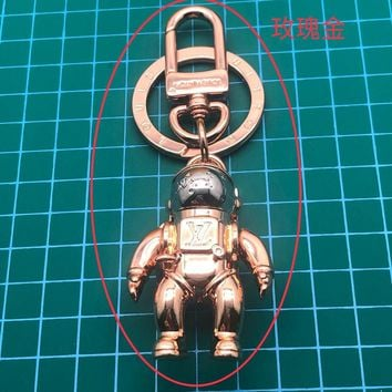 Louis Vuitton Lv Mp2213 Spaceman Figurine Bag Charm And Key Holder Rose Gold