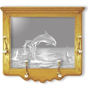 """""""Dolphins"""" Etched Glass Coat Rack Home Decor"""