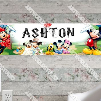 Personalized/Customized Mickey and Minnie Mouse Poster, Border Mat and Frame Options Banner 112