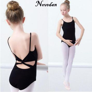 Pink Black Girls Ballet Leotard Bodysuit Cotton Multi-Straps Children Ballet Clothes Dance Wear For Kids