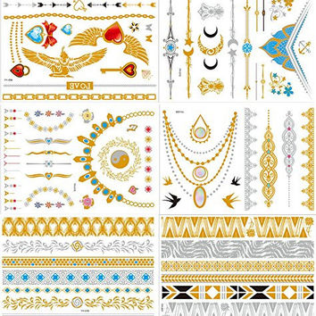 New Release, Dalin 6 Sheets Gold Silver Blue Body Jewelry Temporary Metallic Tattoos Adult Temp Metallic Glitter Art Flash Tattoos Long Lasting, Trendy Tattoo Designs - Angel Wring, Heart, Bow, Love, Moon, Flower and More