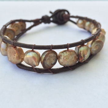 Leather freshwater pearl bracelet;wrap bracelet;leather bracelet