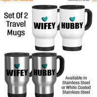 Travel Mug, Hubby Wifey Mugs, Wedding Mug Set, Couples Gifts, Couples Mugs, His and Hers, Custom Mug, Gift Idea, Stainless Steel 14 oz