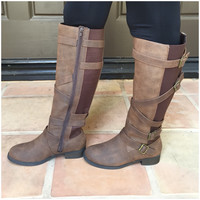 Dating Buckle Knee-High Boots -COGNAC