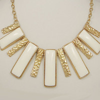 High Quality Gold Tone Statement Necklace White by BellaJewelry4u