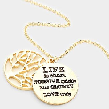 """""""Life Is Short.."""" Tree Of Life Disc Pendant Necklace"""