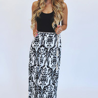 Black/White Damask Tank Maxi Dress