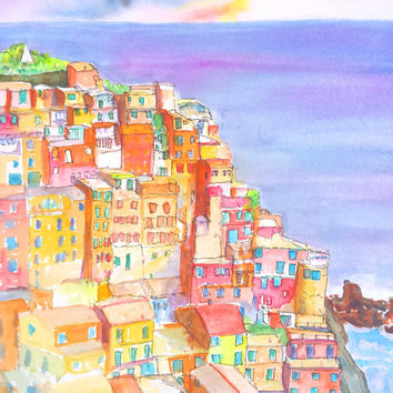 Manarola, Original Watercolor, Cinque Terre, 11x14, Italy, Mediterranean, Landscape, Italian, Architeture, Europe,Liguria, town, Sea, sunset