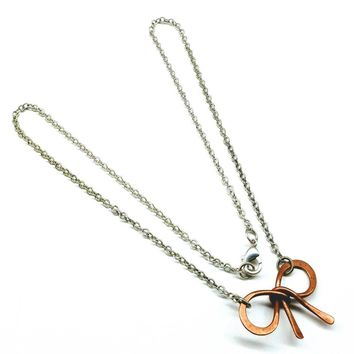 Copper and Silver Filled  Wire Wrapped Bow Tie Necklace