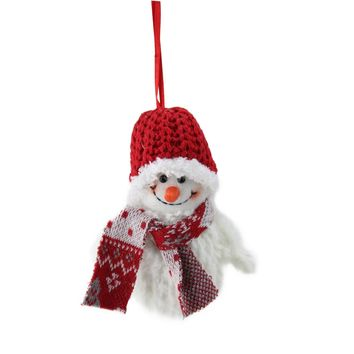 """5"""" Smiling Fuzzy Snowman with Red Knit Hat and Scarf Christmas Figure Ornament"""
