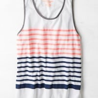 AEO Men's Colorblock Stripe Tank (White)
