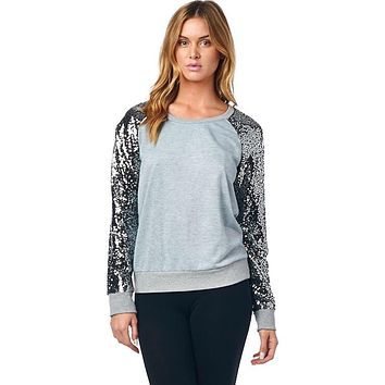 Picture Perfect Sequined Top - Gray