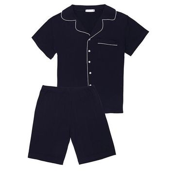 Men's Short-Sleeve Elastic Waist Short Pajama Set