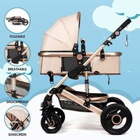Luxury Baby Stroller Folding Baby Carriage High Landscape Sit Lie for Newborn