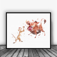 Pumba and Timon, Lion King Art Print Poster