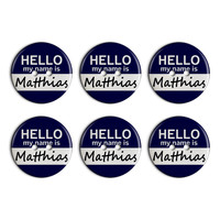 Matthias Hello My Name Is Plastic Resin Button Set of 6