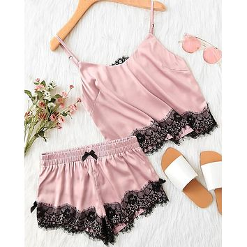 Hooked On You Satin Silk Top and Shorts Pajama Set