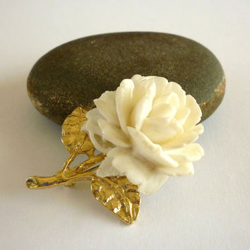 Vintage Rose Pin Brooch, Carved Celluloid Rose Brooch