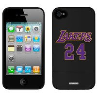 Coveroo Kobe Bryant - Lakers 24 design on a Black iPhone 4/4S Slider Case
