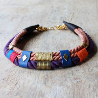 Udo - Ethnic collar necklace - rope, leather and brass