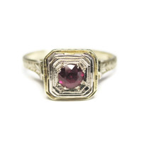 14K Yellow and White Gold Art Deco Ruby Engagement Wedding Ring Size 6