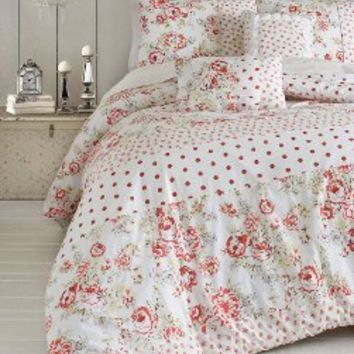 Jessica Simpson 3-Piece Marilyn Vintage Floral Comforter Set, Queen, Red/Green
