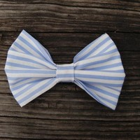 Little Lady Boutique  | Big Baby Blue Stripped Bow | Online Store Powered by Storenvy