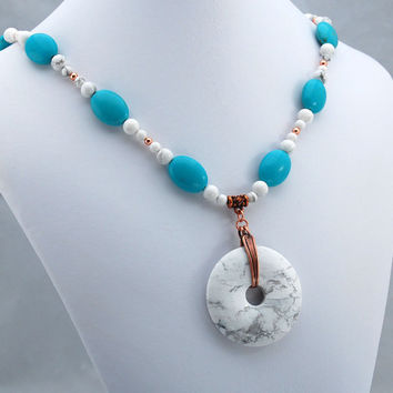 Turquoise and White Buffalo Stone Tailored Elegance Handmade Necklace