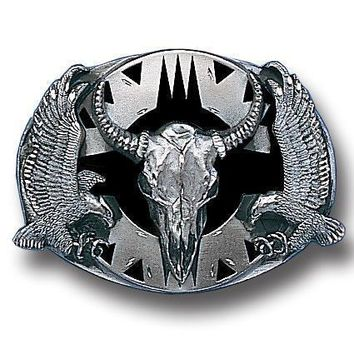Sports Accessories - Buffalo Skull/Eagles (Diamond Cut) Enameled Belt Buckle