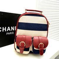 Fashion Navy Stripe Print Little Backpack
