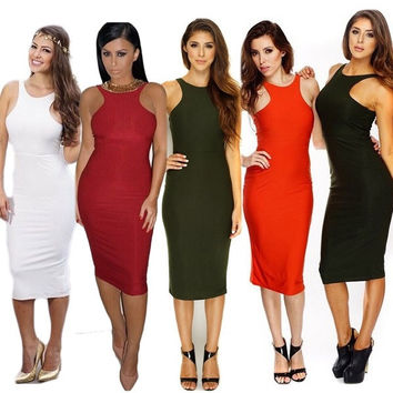 2015 new 6 Colors Black White Green Wine Red Sleeveless Women Sexy Club Long Causual Vestidos de fiesta Bandage Elastic Dress Plus Size CL-E10 = 1946592068