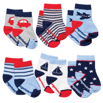 My Rides Boys 6 Pack Baby Socks