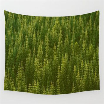 Beautiful Conifer Forest Green Wall Tapestry