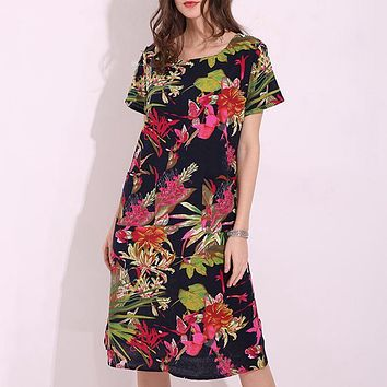 Women Pregnant Casual Loose Dress 2018 Summer Vintage Random Printed Cotton Vestidos Plus Size Short Sleeve Maternity Clothings