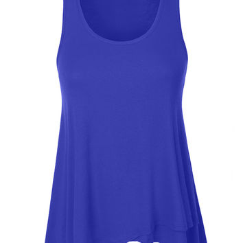 LE3NO Womens Double Layer Sleeveless Tunic Top with Asymmetrical Hem Line