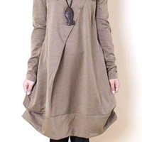Scoop Neck Long Sleeves Solid Color Pleated Casual Dress