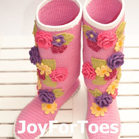 Crochet Boots for the Street Violet Spring Boots Pink Colors Folk Tribal Boots Boho Made to Order