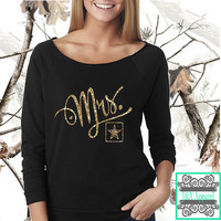 Mrs. Army - Glitter - Army Wife - Soon to be Wife - Army Life - Scoop Neck Slouchy - Raw Edge 3/4-Sleeve Raglan