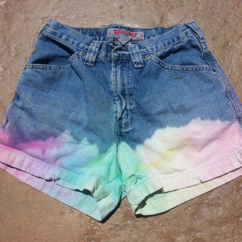 Rainbow Denim High Waisted jean shorts