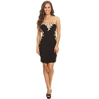 CLEARANCE - Lace Applique Sweetheart Neckline Bodycon Short Prom Dress Black/Gold (Size XL)